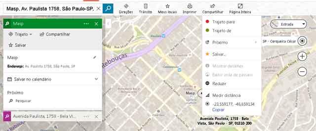 Encontrar coordenadas de um lugar no Bing mapas.